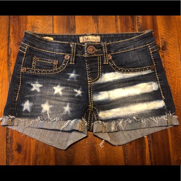 YMI Pants - American Flag Jean Shorts